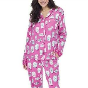 Womens Long Sleeve Flannel 2-Piece Pajamas